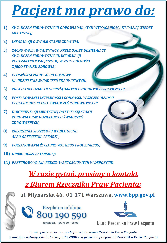 Plakat praw pacjenta